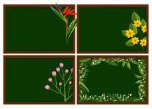 Quattro progettazioni delle strutture con differenti tipi di fiori Fotografia Stock