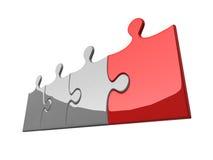 Quattro puzzle su priorità bassa bianca Immagine Stock Libera da Diritti