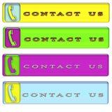 Quattro rettangolari semplici ci contattano bottone Fotografie Stock Libere da Diritti