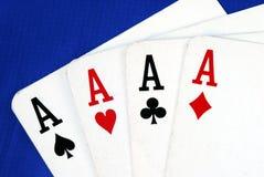 Quattro schede del gioco dell'asso Immagini Stock