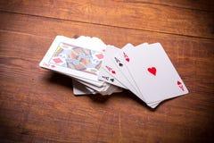 Quattro schede di gioco degli assi Fotografie Stock Libere da Diritti