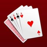 Quattro schede di gioco degli assi Illustrazione fotorealistica di vettore Immagini Stock