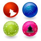 Quattro sfere con ombra Fotografie Stock