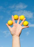 Quattro sfere di golf Immagini Stock
