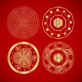 Quattro simboli d'annata cinesi Immagini Stock Libere da Diritti