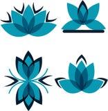 Quattro simboli dai petali blu Fotografia Stock