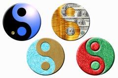 Quattro simboli del yang del yin Fotografie Stock Libere da Diritti