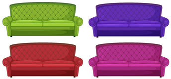 Quattro sofà variopinti Fotografie Stock