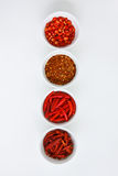 quattro spezie rosse in tazza bianca (thaifood Ingredien) Fotografia Stock