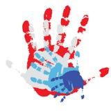 Quattro stampe di una mano umana. Illustrazione di vettore Fotografie Stock Libere da Diritti