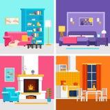 Quattro stanze piane variopinte vector le illustrazioni a progettazione dell'insegna e infographic Immagine Stock