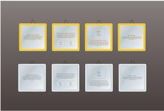 Quattro strutture con il For Your Information dello spazio. Fotografia Stock