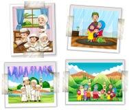 Quattro strutture della foto della famiglia musulmana Immagini Stock