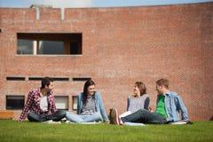Quattro studenti casuali che si siedono sulla chiacchierata dell'erba Fotografia Stock Libera da Diritti