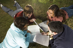 Quattro studenti che studiano all'aperto Immagine Stock Libera da Diritti
