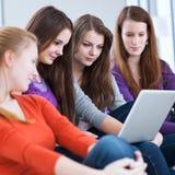 Quattro studenti di college femminili che per mezzo di un computer portatile Fotografia Stock