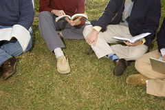 Quattro studenti seduti all'aperto Fotografie Stock