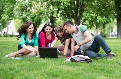 Quattro studenti universitari che confrontano le loro note Immagini Stock Libere da Diritti