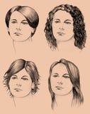 Quattro tagli di capelli Fotografia Stock Libera da Diritti