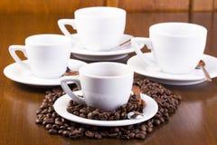 Quattro tazze del caffè espresso Fotografia Stock Libera da Diritti