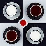 Quattro tazze delle bevande, del quadrato stante e dell'inceppamento di lampone fotografia stock libera da diritti