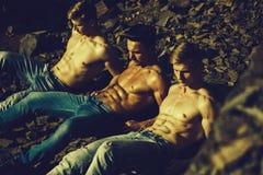 Quattro uomini muscolari sexy fotografie stock libere da diritti