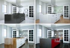 Quattro variazioni di colore della cucina moderna con una bella progettazione Fotografia Stock