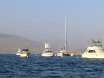 Quattro yacht ed un catamarano in ancona Fotografia Stock Libera da Diritti