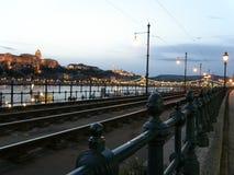 Quay Дуна и холм Buda горизонт Стоковые Изображения RF