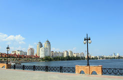 Quay. With skyscrapers in Kyiv, Ukraine Stock Photos