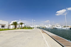 Quay. With yachts, summer and nobody Royalty Free Stock Photo