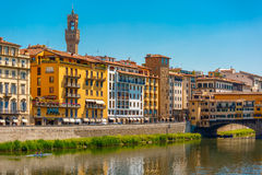 Quay of Arno with Arnolfo tower, Florence, Italy Stock Image