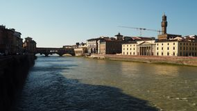 Quay of the Arno River in Florence. Italy stock footage