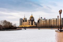 Quay in Astana. Winter river Ishim in the center of Astana in Astana Stock Photography
