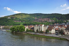 Quay and barge in the river in summer Heidelberg. Quay and barge in the river and quay of european city in summer Heidelberg Royalty Free Stock Image