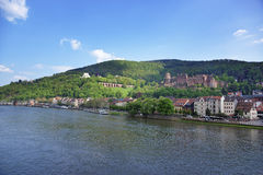 Quay and barges in the river in summer Heidelberg. Quay and barges in the river and quay of european city in summer Heidelberg Stock Photos