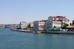 Quay at bay of Sevastopol. View on quay at South bay of Sevastopol at summer Stock Photos