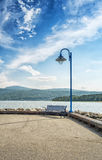 Quay bench and Lampost Stock Images