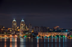 Quay of the big city at night. The river Dnepr, Dnepropetrovsk Stock Photography