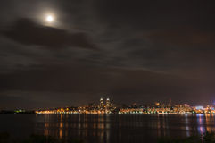 Quay of the big city at night. The river Dnepr, Dnepropetrovsk Stock Photos