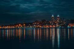 Quay of the big city at night, the river Dnepr. Dnepropetrovsk Stock Image