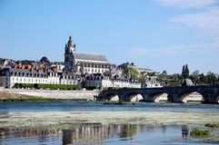Quay of Blois with its stone bridge Stock Photography