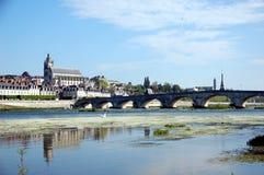 Quay of Blois with its stone bridge Royalty Free Stock Photos
