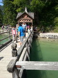Quay of the boathouse in Braies lake Stock Photography