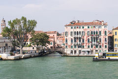 Quay and bridge over channel in Venice Royalty Free Stock Photography