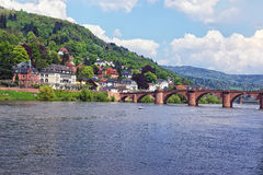 Quay and bridgeover river in summer Heidelberg. Quay and bridgeover river in summer european city of Heidelberg Stock Photography