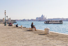 Quay channel in Dorsoduro and sailing boat trip Stock Image