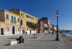Quay channel in Dorsoduro in Venice Royalty Free Stock Images