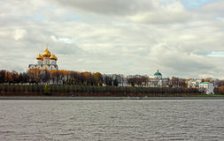 Quay and church in Yaroslavl Stock Image