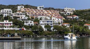 Quay of the city of Batsi Andros Island, Cyclades, Greece royalty free stock photography